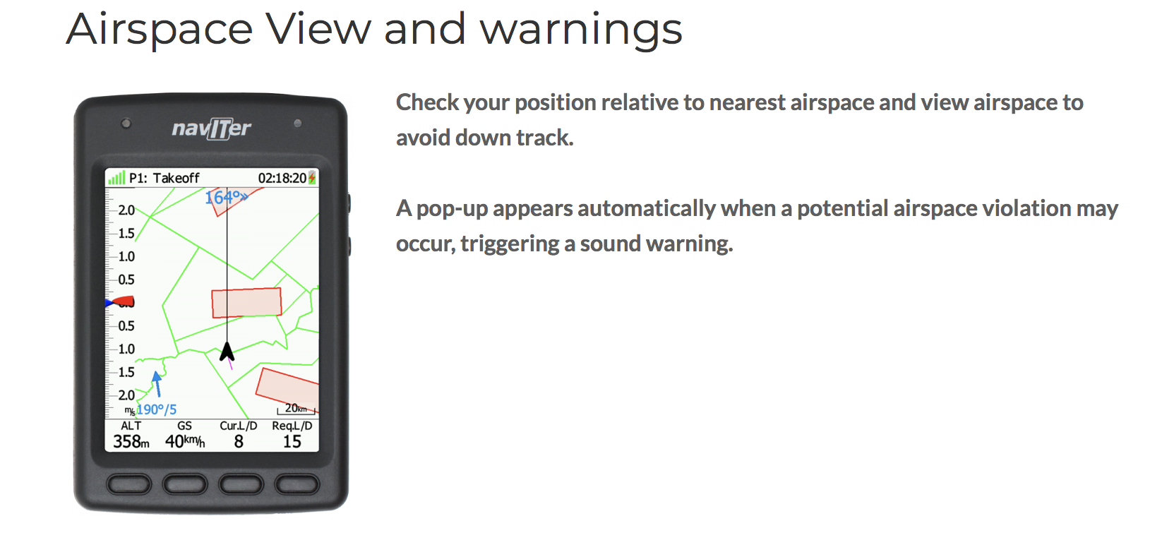 Naviter Hyper - Airspace View and Warnings